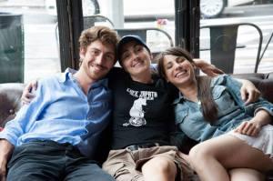 Valentina insieme ai due protagonisti Lorenzo (Jacopo Rampini) e Giulia (Nicole Cimino)